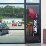 Salon Biyoshi one way vision vinyl sign 2_ Knoxville, TN